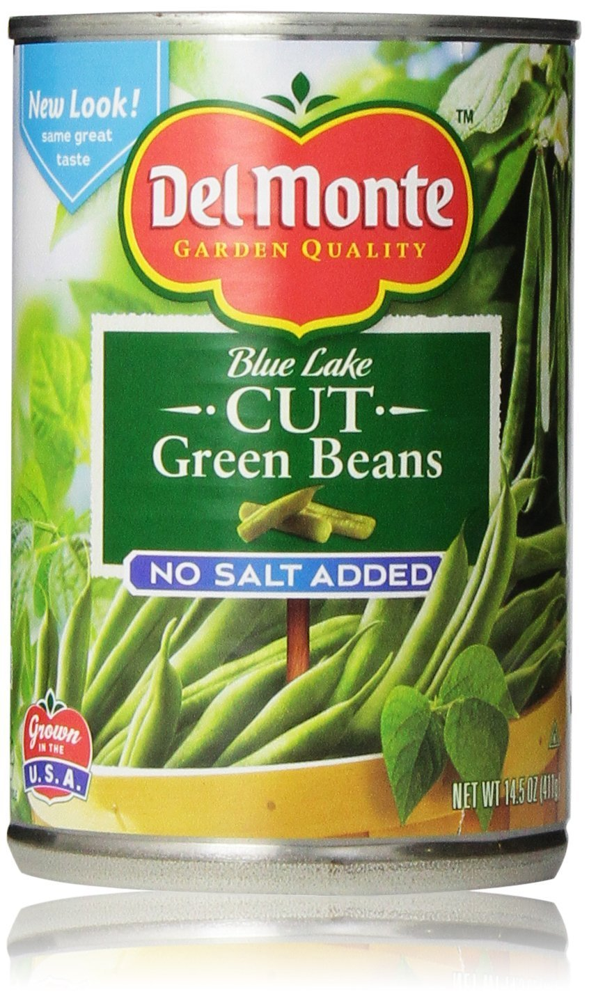 Del Monte Blue Lake Cut Green Beans, No Salt Added 14.5 Oz (Pack of 6)