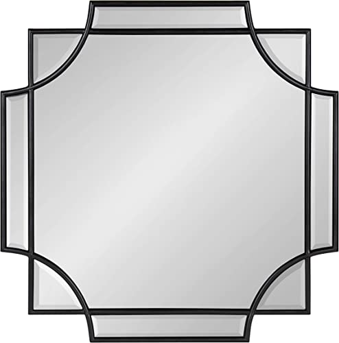 Kate and Laurel Minuette Glam Square Wall Mirror, 24 x 24 , Black, Elegant Traditional Home Decor with A Boho Charm