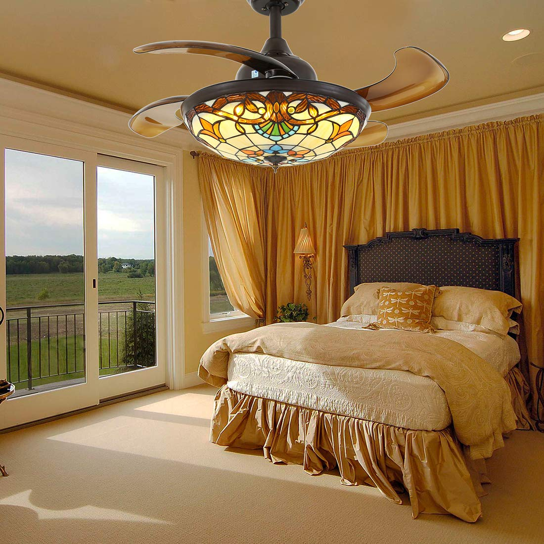 Chandelier Ceiling Fan with Dimmable Lights Retractable Coffee Tiffany Fan Fandelier with Remote