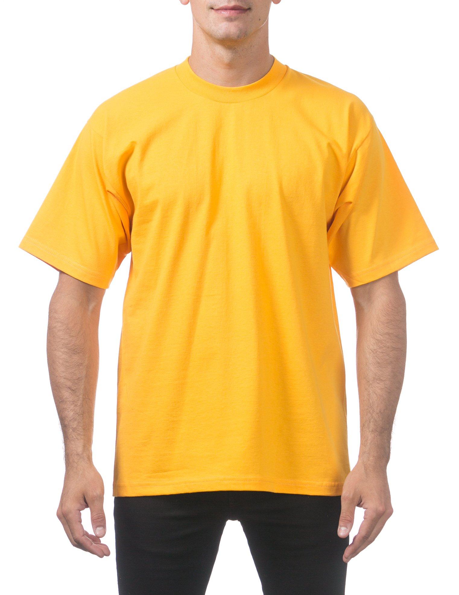 Pro Club Men's Heavyweight Cotton Short Sleeve Crew Neck T-Shirt, Medium, Gold