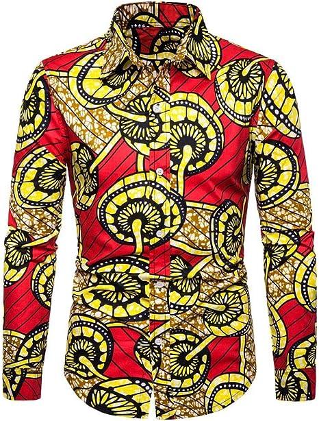 SoonerQuicker Camisa de Hombre Hombre Casual Impresión 3D Vintage Slim Camisa de Vestir de Manga Larga Blusa Tops: Amazon.es: Ropa y accesorios