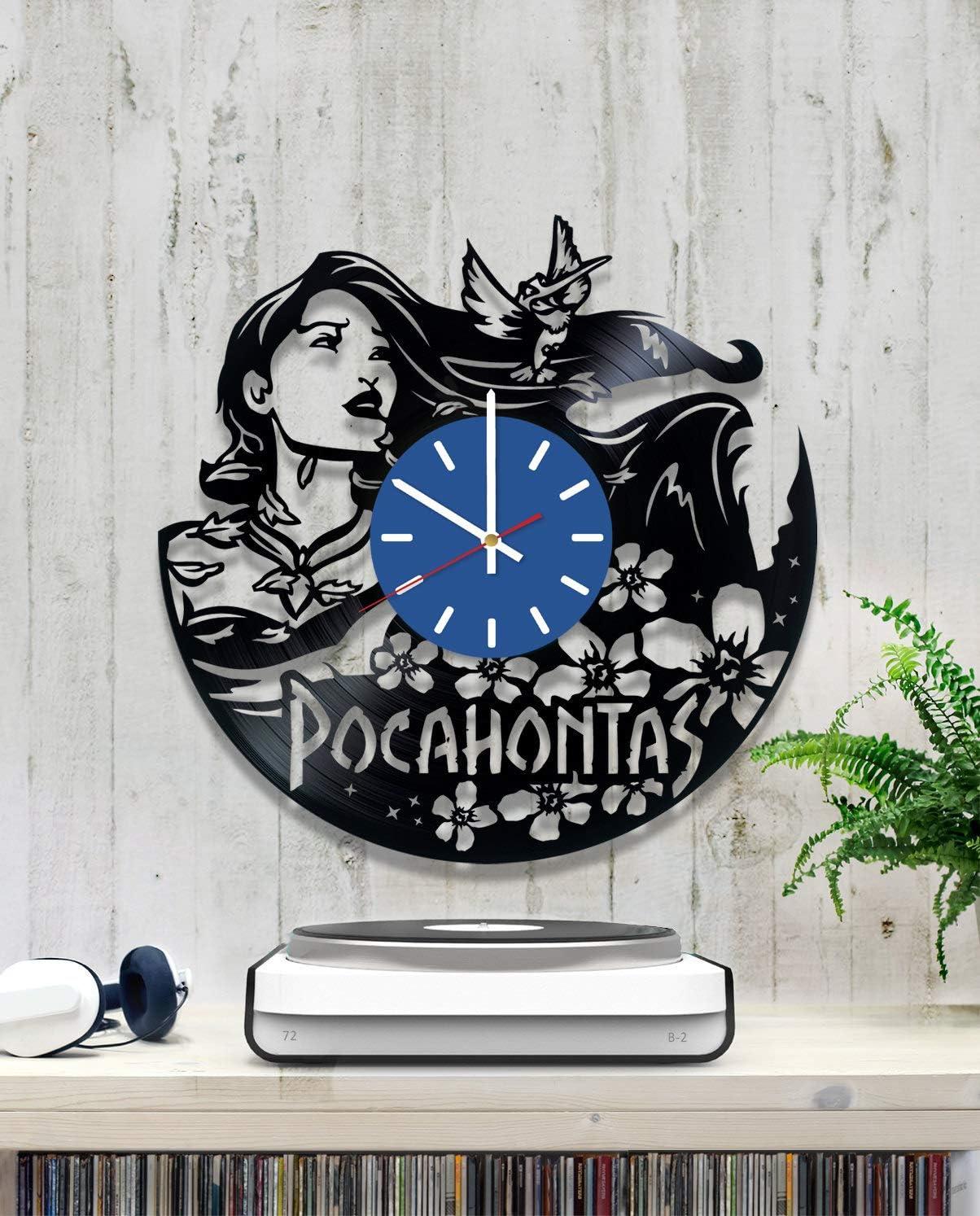 MKG Studio Vinyl Record Wall Clock Pocahontas Princess Matoaka Daughter of a Native American Paramount Chie 12 INCHES Decor Home Idea Handmade Gift for Her Him