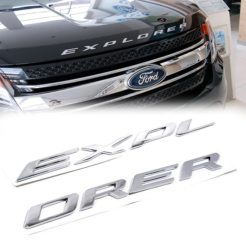 1 Set Sporty Matte Black ABS Front Hood Emblem 3D Letters EXPLORER Stickers Fit Ford 2011-2017 Xotic Tech Direct