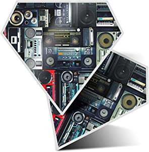 Awesome 2 x Diamond Stickers 7.5 cm - Radios Cassette Player Retro Music Fun Decals for Laptops,Tablets,Luggage,Scrap Booking,Fridges,Cool Gift #14242