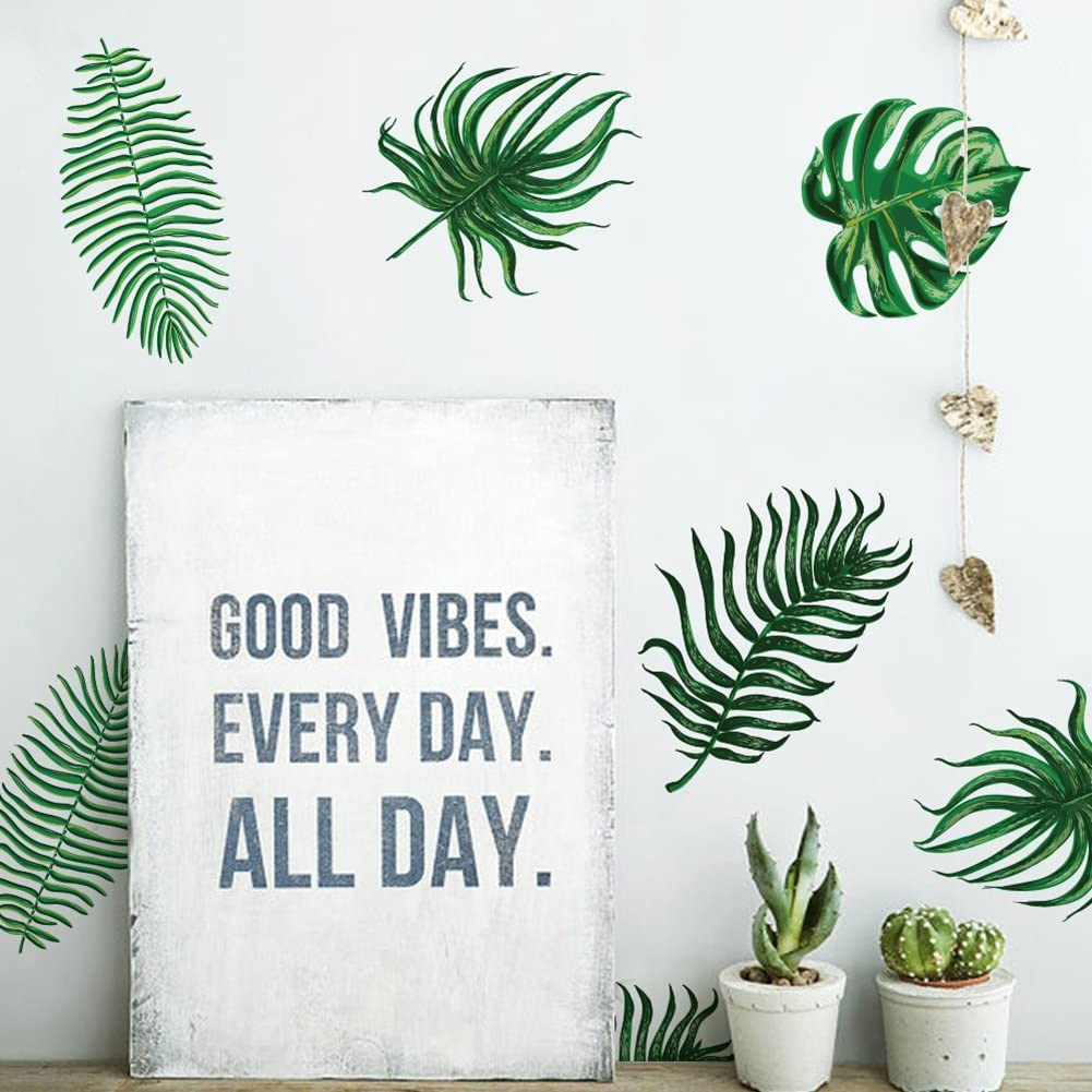 Green 4 Sheets//9 x 17.375 York Wallcoverings RMK3655SCS Palm Leaves Peel and Stick Wall Decals