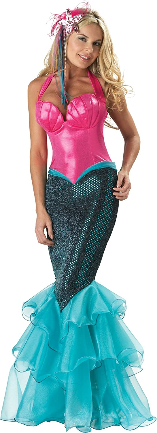 Mermaid Pink Seashell Embossed Sequin Tail Women's Costume - DeluxeAdultCostumes.com