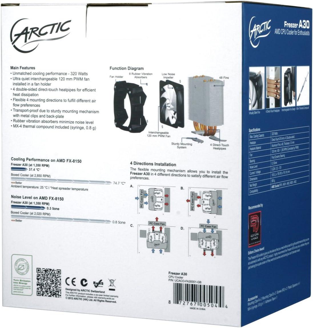 AM2 AM2+ AM3 AM3+ MX 4 Hochleistungs W/ärmewleitpaste inklusive ARCTIC Freezer A30-320 Watt CPU K/ühler f/ür Enthusiasten mit 120 mm PWM L/üfter FM1 Kompatibel mit AMD-Sockel FM2