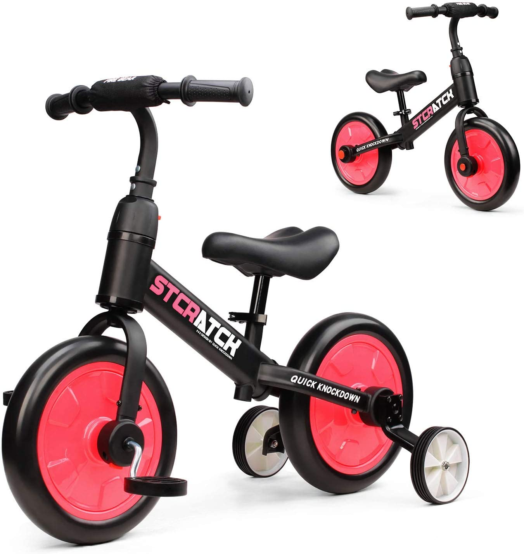 Fascol 3 en 1 Bicicleta de Equilibrio para 1-6 Años Niños , Triciclo para Bebes con Pedales Desmontables y Ruedas Auxiliares , Diseño de Asiento Elevador para Ajustar Alturas