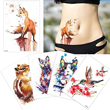 5 hojas acuarela dibujo Animal cuerpo tatuaje temporal pierna ...