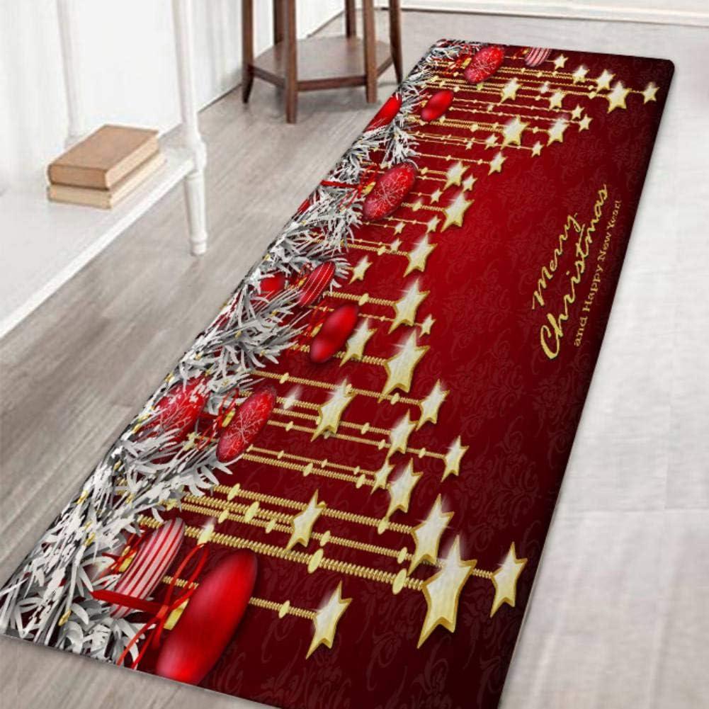 Hankyky Christmas Santa Snowmen Reindeer Floor Runner Area Rug Home Kitchen