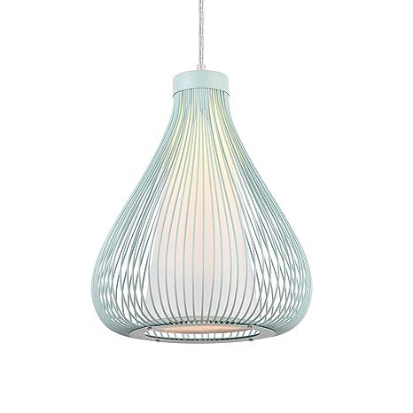 [lux.pro] Lámpara de techo tipo colgante con pantalla decorativa metálica - colgante moderna - azul bebe (E27)