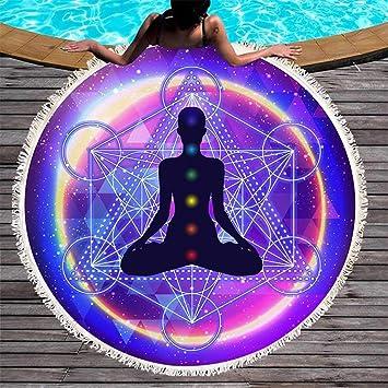 Ta-weo Esteras Redondas 150 cm Yoga Toalla de Playa Redonda ...