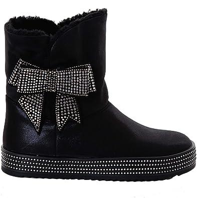 b8572e0af66c Fantasia Boutique ® Ladies Diamante Bow Low Heel Flatform Faux Fur Lined  Warm Winter Boots Shoes  Amazon.co.uk  Shoes   Bags