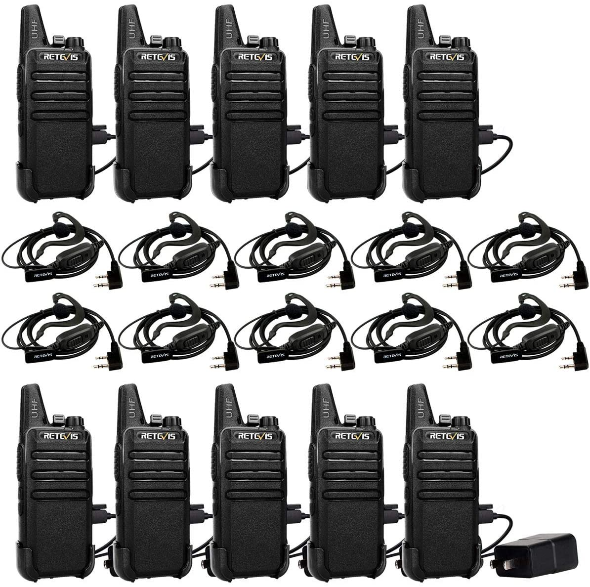 Retevis RT22 2 Way Radios Walkie Talkies,Rechargeable Long Range Two Way Radio,16 CH VOX Small Emergency 2 Pin Earpiece Headset,for School Retail Church Restaurant 10 Pack