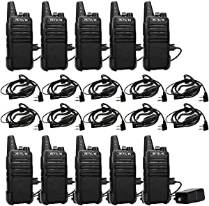Retevis RT22 2 Way Radios Walkie Talkies,Rechargeable Long Range Two Way Radio,16 CH VOX Small Emergency 2 Pin Earpiece Headset,for School Retail Church Restaurant(10 Pack)