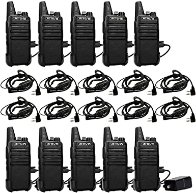 Retevis RT22 Walkie-Talkies FRS UHF 16 CH Vox Handsfree Emergency Alarm Channel Lock Mini 2 Way Radio Walkie Talkies with Earpieces Headset 10 Pack