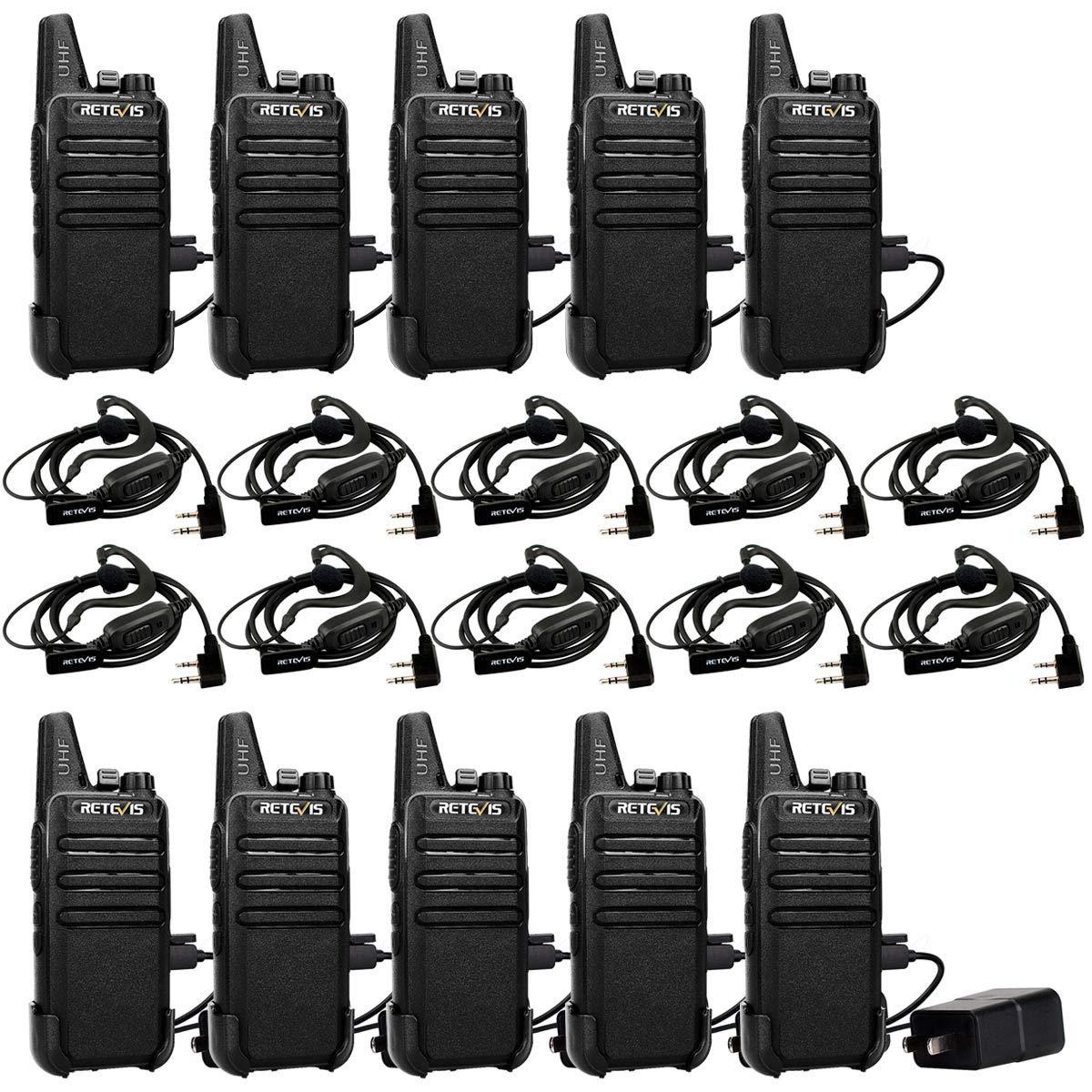 Retevis RT22 Walkie-Talkies FRS UHF 16 CH Vox Handsfree Emergency Alarm Channel Lock Mini 2 Way Radio Walkie Talkies with Earpieces Headset(10 Pack) by Retevis