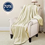 Fleece Thermal Blanket Soft Warm Cozy Plush Throw for Bed Sofa Couch by Risar (Throw 50x61, Ivory)