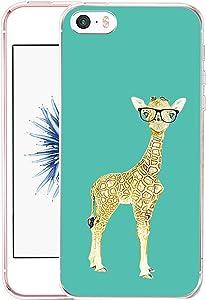 Case for iPhone 5 SE Giraffe - CCLOT Flexible Cover Protector Compatible for iPhone 5/5S/SE Funny Cute Little Giraffe Animal Design (TPU Protective Silicone Bumper Skin)