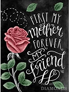 5D Diamond Painting by Number Kits, Full Drill for Adults Kids,Craft Rhinestone with Diamonds Set Arts Decor First My Mother Forever My Friend 11.8x15.7Inches