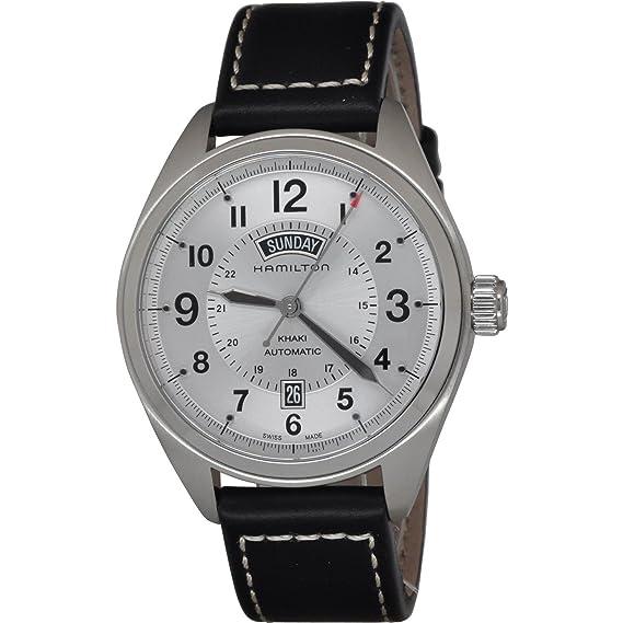 Hamilton Khaki Field reloj de Hombre Automático de piel color blanco Dial SS h70505753: Amazon.es: Relojes