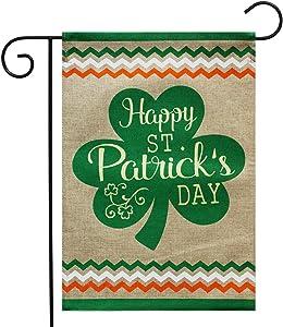 "Briarwood Lane St. Patrick's Day Clover Burlap Garden Flag Shamrock 12.5"" x 18"""