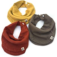 Indi by Kishu Baby - Infinity Scarf Bibs - Organic Drool Bib for Girls or Boys with Snaps - Organic Cotton Muslin - 3…