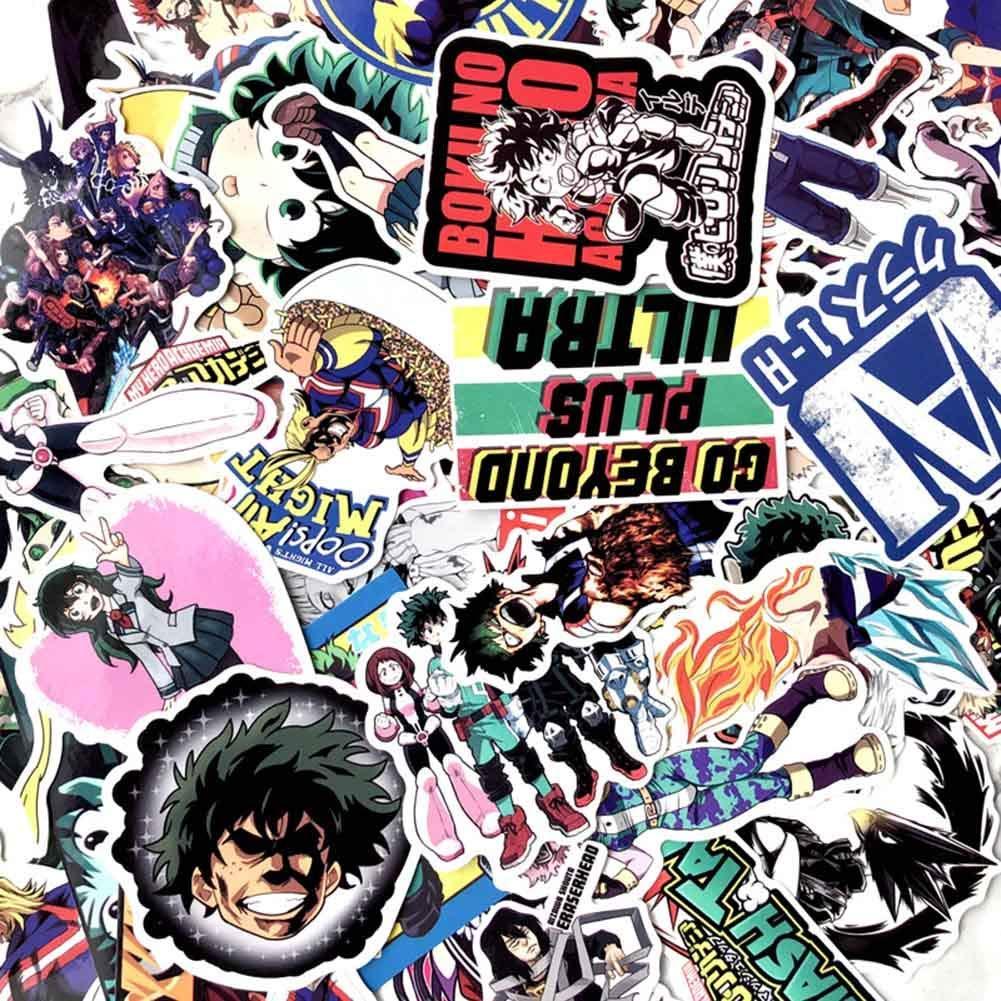 Luggage Skateboard 1 yangzhoujinbei Cute My Hero Academia Stickers Waterproof Adhesive Vinyl Sticker for Laptop Macbook 70 pieces