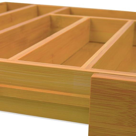 Bandeja Para Cubiertos Extensible de Bambú - Bandeja de Cubiertos de Madera - Organizador de Cajones de Cocina - Porta Cubiertos - Organizador de Cubiertos ...