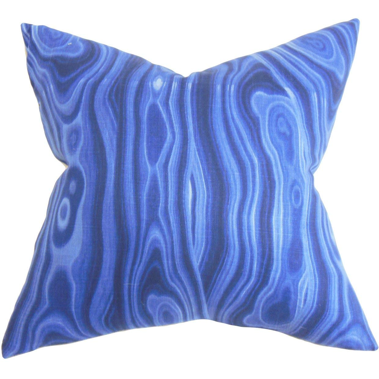 The Pillow Collection Zoia Geometric Blue Down Filled Throw Pillow