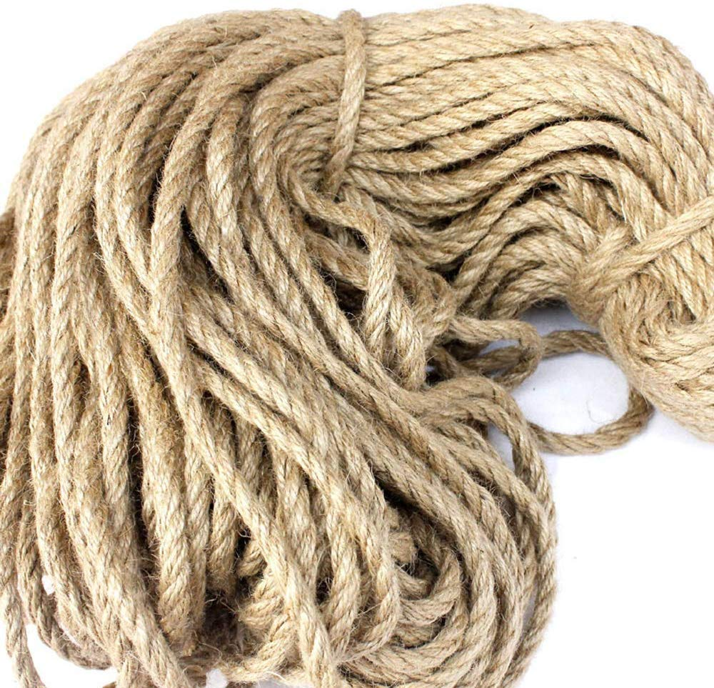 5M EliteKoopers 6mm Natural Jute Rope Twisted Decking Cord For Garden Boat Craft Scratching