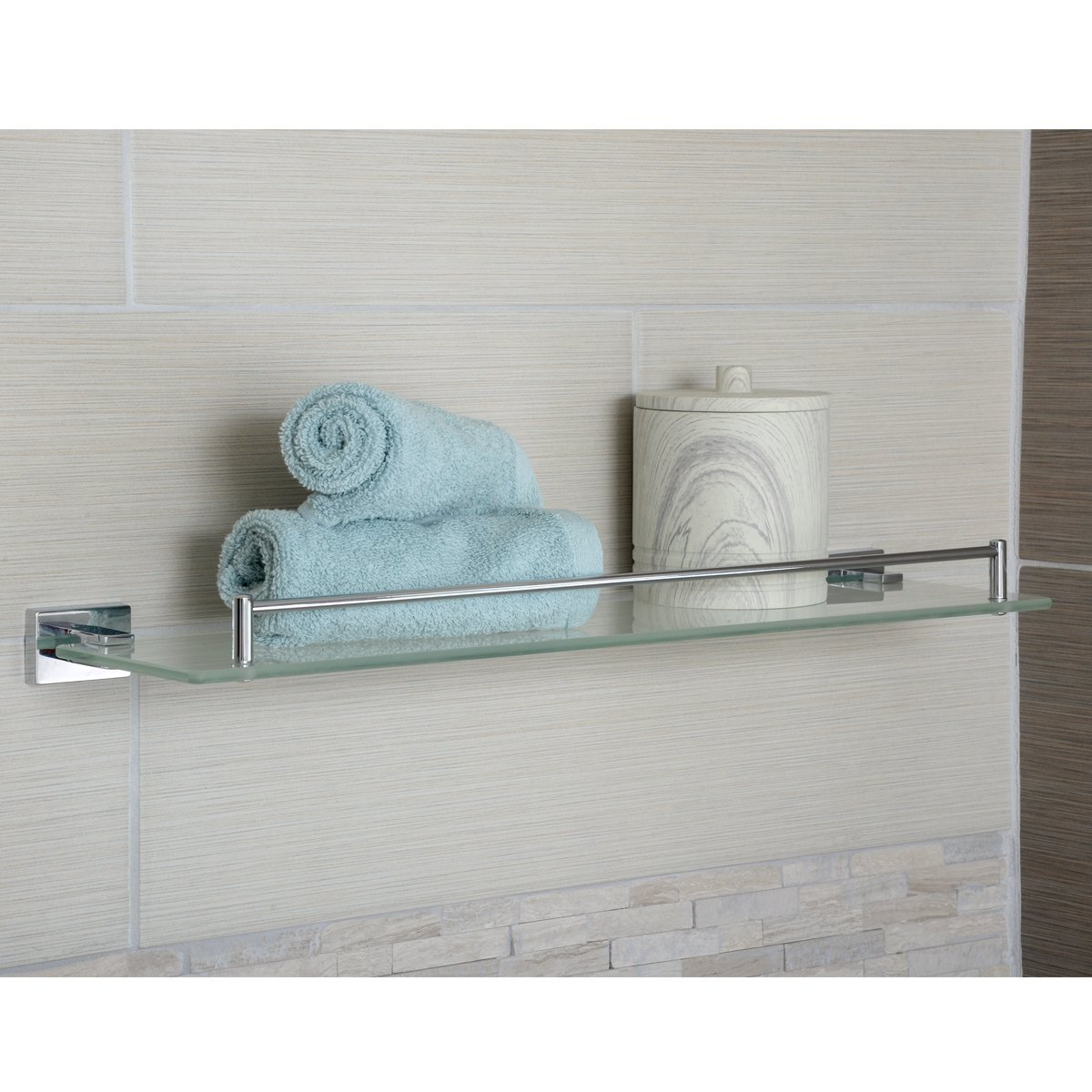 AmazonBasics Euro Glass Vanity Shelf - Polished Chrome, 20-Inch ...