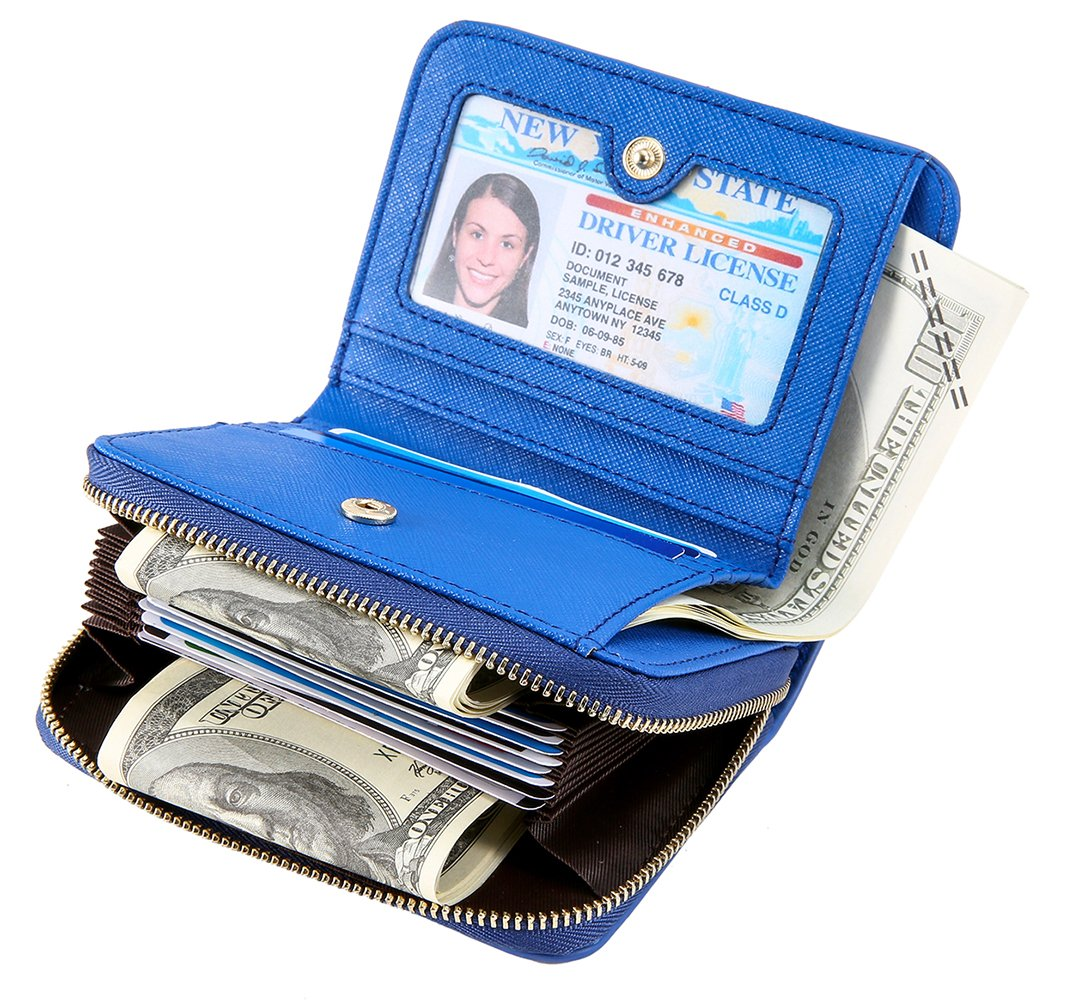 iSuperb RFID Genuine Leather Card Case Wallet Zip Around Credit Card Holder Accordion Style Small Purse (Blue)