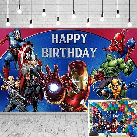 Fondo De Los Vengadores Marvel Para Fiesta De Cumpleaños Telón De Fondo 5 X 3 Pies Temática De Superhéroe Fotografía Para Niños Pancarta De Cumpleaños Decoración De Fiestas De Cumpleaños Pancarta
