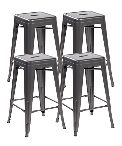 Anji Modern Furniture 26inch Backless Metal Counter Height Bar Stools Set  Of 4 Vintage Tolix Chairs