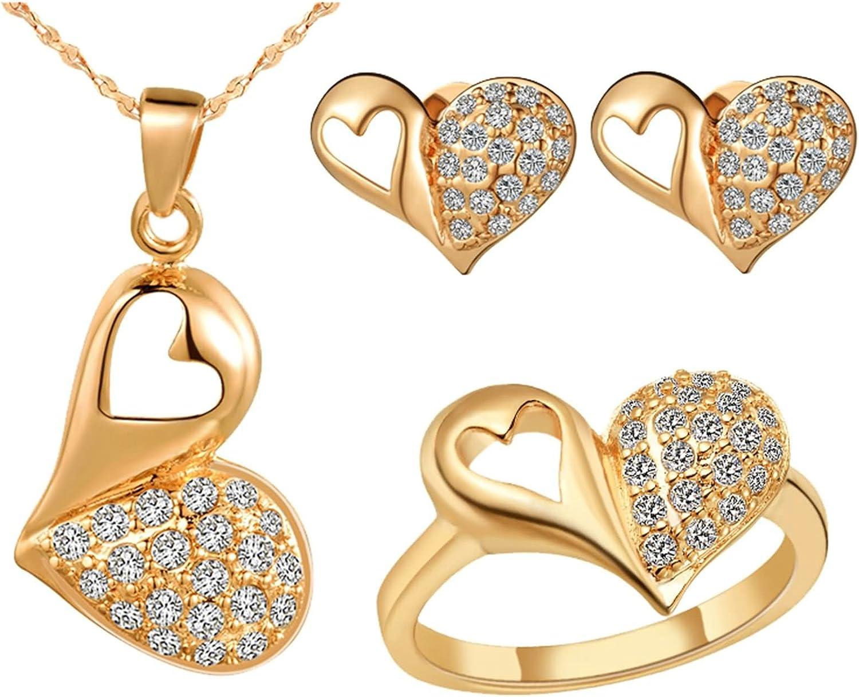 KnSam Mujer Oro Plate Conjunto de Collar Pendientes y Pulsera, Corazón Racimo Pavimentar Cristal Juego de Joyas Tamaño 17