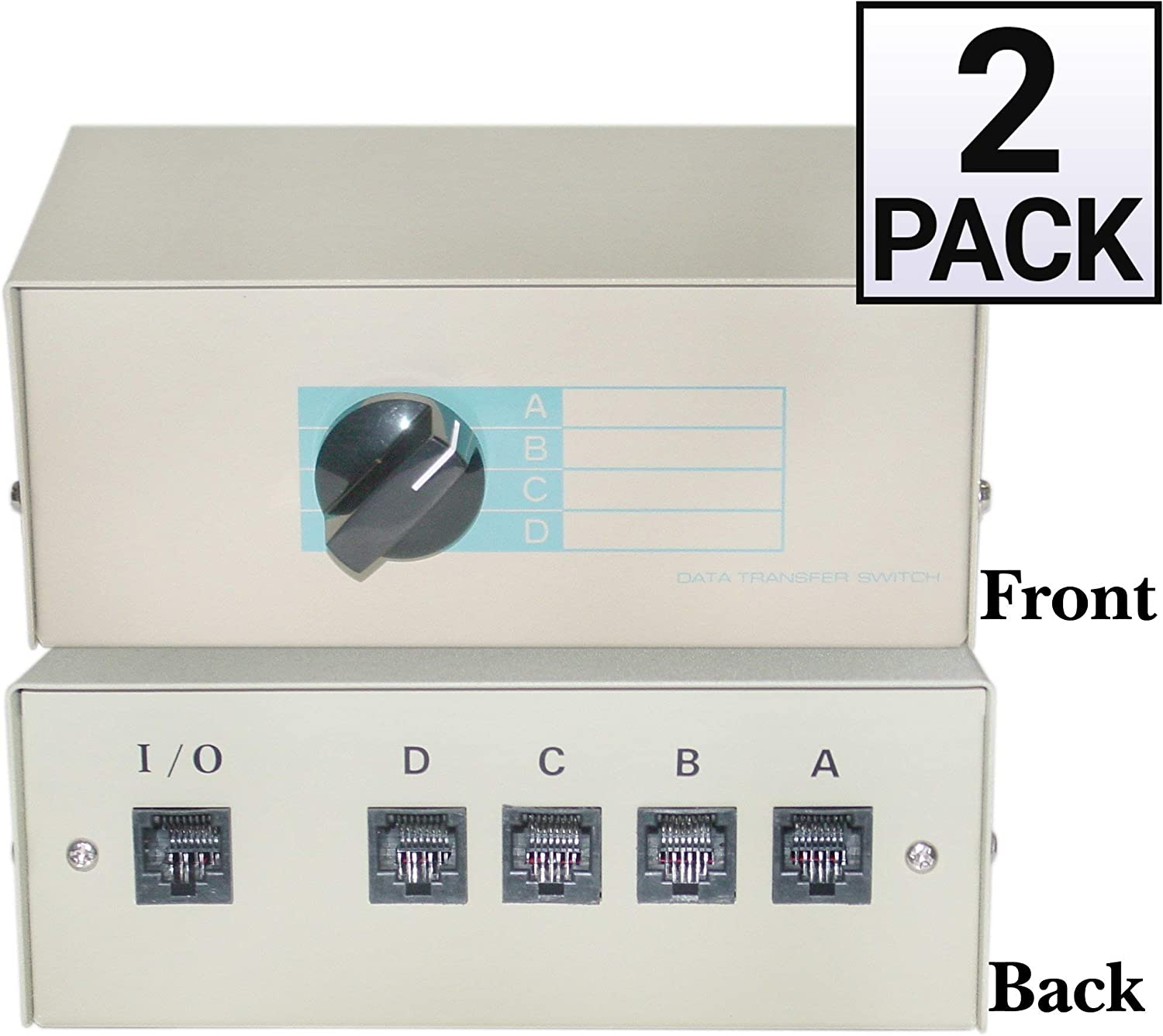 RJ45 Female GOWOS 2 Pack ABCD 4 Way Switch Box