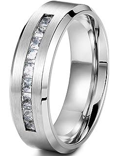 Amazon.com: 8 MM Men\'s Titanium ring wedding band with 9 large ...