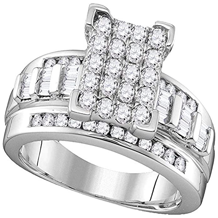 3ed208c77480b Roy Rose Jewelry Ladies Diamond Rectangle Cluster Bridal Wedding ...