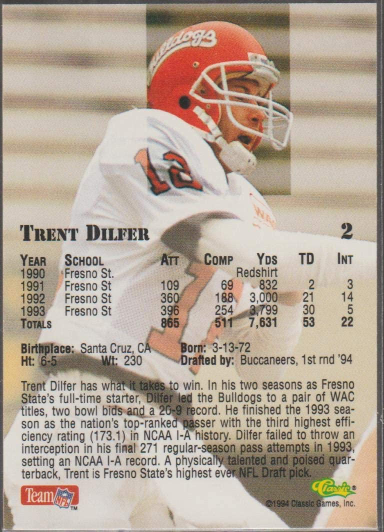 13 NFL Cards 1994 Upper Deck Collectors Choice Tampa Bay Buccaneers Team Set with Trent Dilfer RC /& Errict Rhett RC