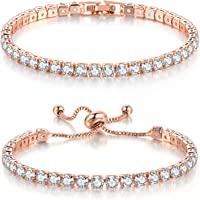 Double Fair 2 Pcs Tennis Bracelets for Women 14K Gold Plated AAA+ Cubic Zirconia CZ Diamond Classic Adjustable Slider…