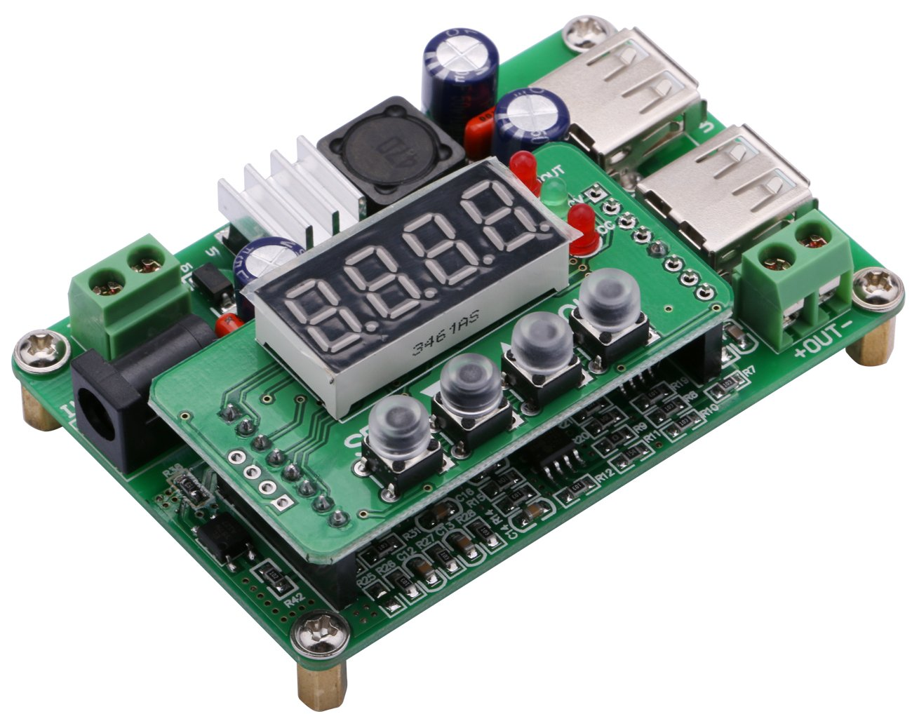 Yeeco Numerical Control DC DC Buck Voltage Converter, 36V 3A Adjustable Digital Step Down Voltage Regulator Stablizer CC CV Power Transformer Supply LED Driver Module Board with USB2.0 Output Port