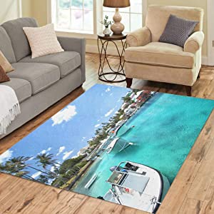 Pinbeam Area Rug Yacht Boats on Blue Sea Water in Tropical Home Decor Floor Rug 2' x 3' Carpet