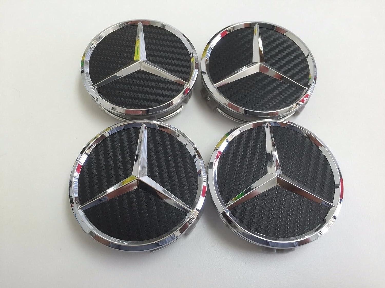 AOWIFT 4x Mercedes-Benz Black Carbon emblem center wheel rims hub caps 75mm .