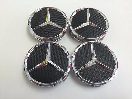 Amazon.com: AOWIFT 4x Mercedes-Benz Black Carbon emblem center wheel rims hub caps 75mm: Automotive