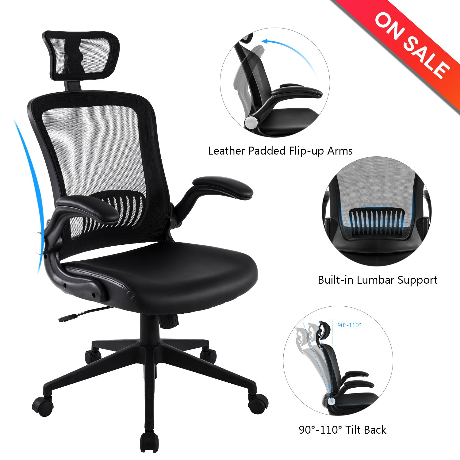 lch ergonomic high back mesh office chair with bonded leather seat