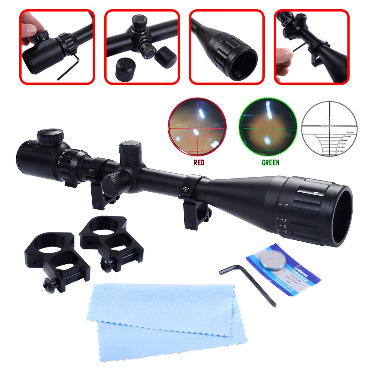 Safstar Reticle Riflescope Crosshair Optics Hunting Gun Scope with Free Mount