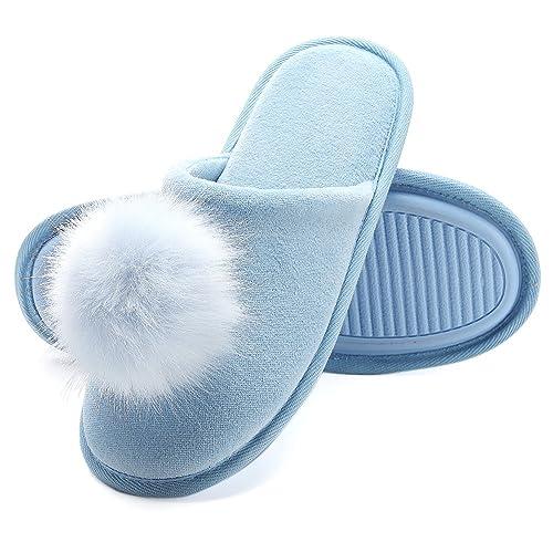 Zapatillas de Casa Mujer, Ultraligero cómodo y Antideslizante, Zapatilla de Estar por casa para Mujer con Adorno Bola de Felpa: Amazon.es: Zapatos y ...