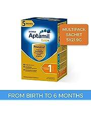 Aptamil Gold+ Infant Formula Stage 1 Multipack Sachet, 5 Pack, 109.5g