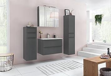 Badmöbel, Badezimmezimmermöbel, Badeinrichtung, Komplettset,  Badezimmerausstattung, Basaltgrau, Anthrazit, Spiegel,